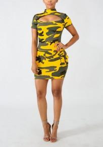 Mini robe imprimé camouflage découpess poches irrégulières bodycon décontracté jaune