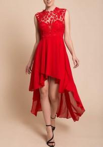 Robe longue avec dentelle mousseline court devant longue derriere fluide élégant rouge