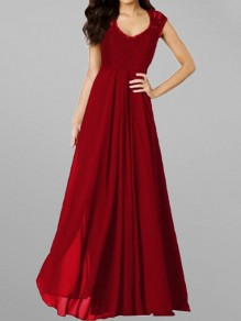 Red Draped Lace V-neck For Wedding Gowns Elegant Party Maxi Dress