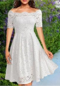 Mi-longue robe avec dentelle col bateau manches courtes tutu élégant de cocktail blanc
