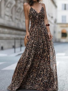 Brown Leopard Print Spaghetti Strap Deep V-neck Flowy Bohemian Beach Party Maxi Dress