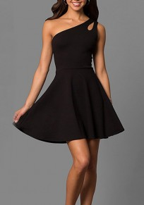 Black Draped Asymmetric Shoulder Ruched A-Line Office Worker/Daily Mini Dress