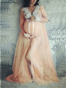 Nude Lace Grenadine Bowknot Slit Deep V-neck For Babyshower Elegant Maternity Maxi Dress