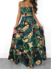 Green Floral Ruffle Draped Off Shoulder Two Piece Bohemian Havana Beachwear Party Maxi Dress