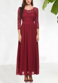 Burgundy Draped Lace 3/4 Sleeve Elegant Banquet Party Wedding Maxi Dress