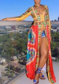 Robe maxi longue wax motif ethnique fendu décolleté plongeant manches au coude mode rouge