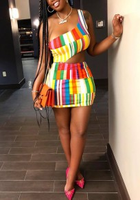 Yellow Striped Rainbow Asymmetric Shoulder Cut Out Club Evening Cocktail Party Mini Dress