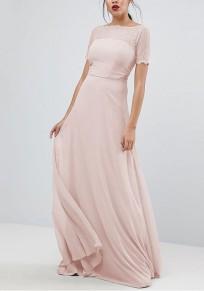 Maxi dress scollo A barchetta drappeggiato in pizzo manica corta partito elegante rosa