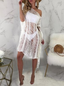 White Irregular Tassel One-Shoulder Cut Out Cover Up Beach Smock Beach Bohemian Midi Dress