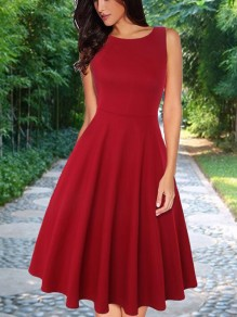 Red Pleated Zipper High Waisted Round Neck Sleeveless Sweet Homecoming Party Midi Dress