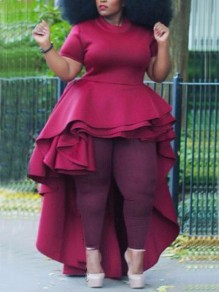 Burgundy Cascading Ruffle High-Low High Waisted Swallowtail Elegant Party Maxi Dress