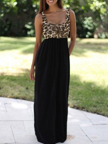 Black Patchwork Leopard Print Pleated Going out Casual Maxi Dress