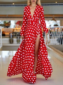 Red White Polka Dot Belt Deep V-neck Side Slits Bohemian Beachwear Maxi Dress