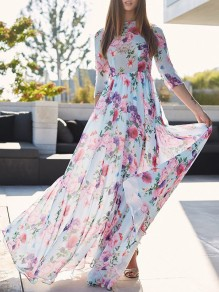 Light Blue Floral Draped High Waisted Flowy Bohemian Elegant Party Sun Maxi Dress