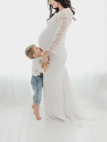 White Patchwork Lace Off Shoulder Mermaid Bell Sleeve Elegant Maternity Photoshoot Babyshower Dress