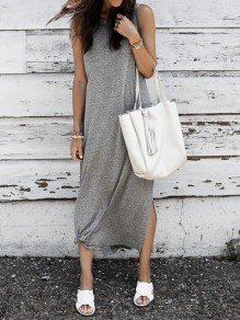 Dark Grey Knot Double Slit Round Neck Fashion Maxi Dress