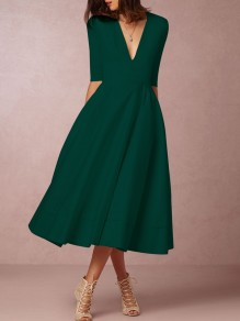 Green Pockets Draped V-neck Elbow Sleeve Elegant Maxi Dress