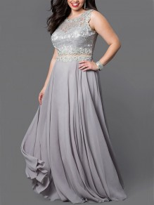 Silver Patchwork Lace Sequin Draped Round Neck Plus Size Maxi Dress