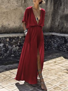 Burgundy Deep V-neck Draped Pockets High Waisted Slit Flowy Elegant Party Maxi Dress