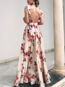 Apricot Floral Print Sleeveless Backless Bing Swing Flowy Bohemian Elegant Maxi Dress