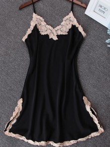 Black Patchwork Lace Spaghetti Strap Backless Double Slit Casual Mini Dress
