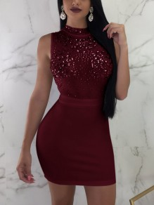 Mini robe grenade strass paillette bodycon party party clubwear jujube rouge