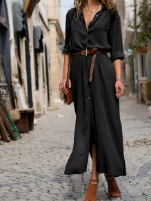 Black Buttons Turndown Collar Elbow Sleeve Fashion Casual Maxi Dress