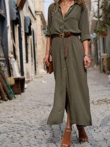 Army Green Buttons Turndown Collar Elbow Sleeve Fashion Midi Dress
