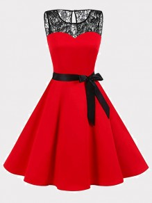 Red Patchwork Lace Bow Draped Round Neck Sleeveless Mini Dress