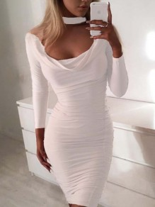 White Cut Out Ruched Round Neck Long Sleeve Bodycon Casual Party Prom Mini Dress