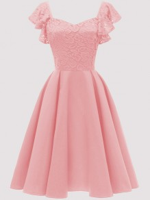 Pink Patchwork Lace Draped Backless Short Sleeve Midi Dress