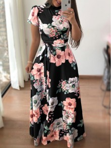 Black Flowers Print Sashes Draped Short Sleeve Maxi Dress