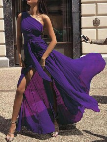 Purple Draped Sashes High Slit High Waisted One Shoulder Flowy Elegant Prom Maxi Dress