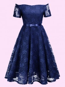 Royal Blue Off Shoulder Lace Pleated High Waisted Tutu Sweet Homecoming Party Midi Dress