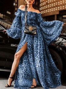 Light Blue Leopard Print Off Shoulder Slit Bell Sleeve Elegant Party Maxi Dress