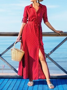 Red Polka Dot Single Breasted Pockets Sashes Slit Country Bohemian Party Maxi Dress