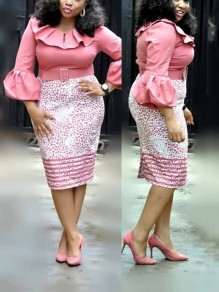 Pink Polka Dot Belt Ruffle Pearl Buttons Lantern Sleeve Bodycon Elegant Party Midi Dress