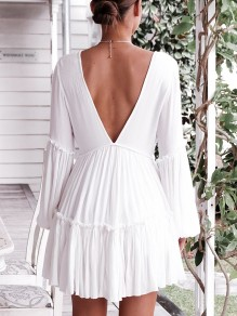 White Ruffle V-neck Backless Long Sleeve Fashion Mini Dress