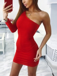 Red Asymmetric Shoulder Long Sleeve Fashion Mini Dress