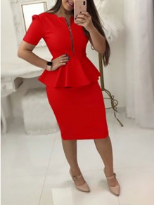 Red Ruffle Zipper Short Sleeve Peplum Plus Size Office Worker Elegant Midi Dress