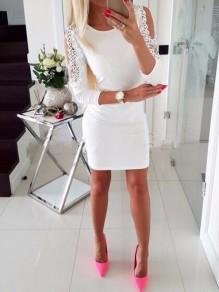 White Patchwork Cut Out Pearl Fashion Mini Dress