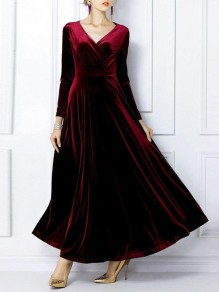 Burgundy Pleated Pleuche Big Swing Long Sleeve V-neck Flowy Elegant Formal Banquet Maxi Dress