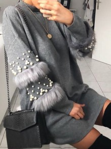 Grey Pearl Collarless Round Neck Long Sleeve Fashion Mini Dress