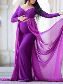 Purple Patchwork Grenadine Off Shoulder Front Slit Mermaid For Babyshowes Elegant Maternity Maxi Dress