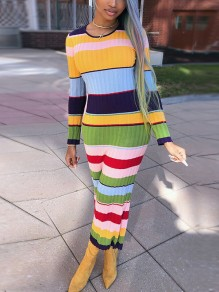 Colorful Striped Print Bodycon Long Sleeve Casual Sweet Cute Honey Girl Maxi Sweater Dress