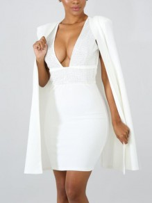 White Patchwork Rhinestone Diamond Cloak Cape Two Piece Deep V-neck Elegant Mini Dress