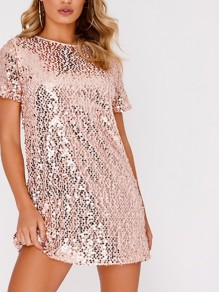 Pink Mosaic Sequin Round Neck Party Mini Dress