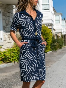 Navy Blue Geometric Pockets Print Single Breasted Belt Turndown Collar V-neck Office Worker Casual Midi Dress