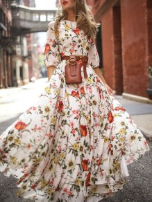 White Flower Floral Draped Flowy Elbow Sleeve Bohemian Beach Vacation Maxi Dress