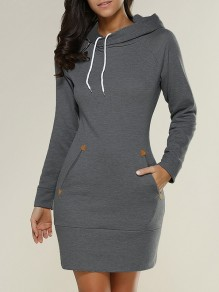 Dark Grey Pockets Hooded Long Sleeve Fashion Mini Dress